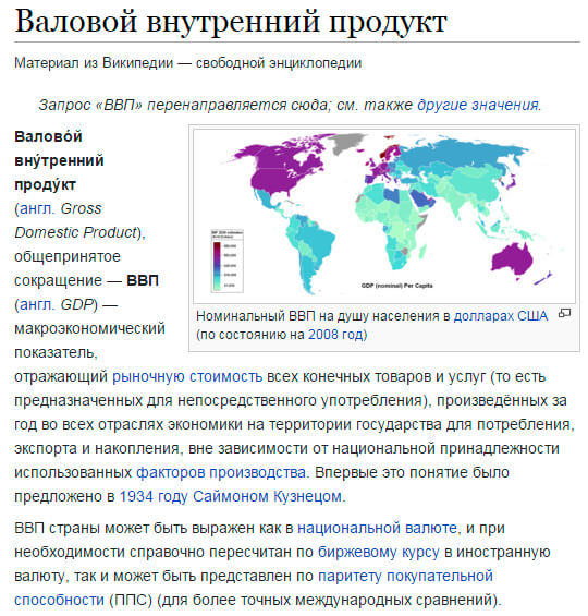 ВВП - информация из Википедии