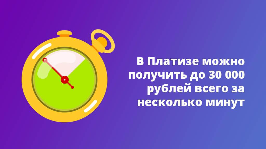 В Платизе можно получить до 30 000 рублей всего за несколько минут