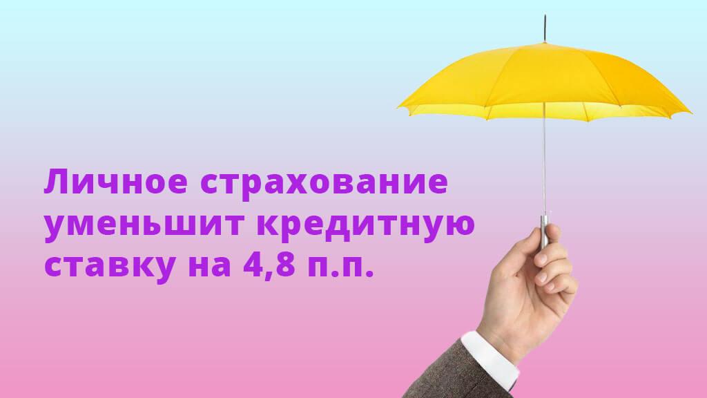Личное страхование уменьшит кредитную ставку на 4,8 п.п.