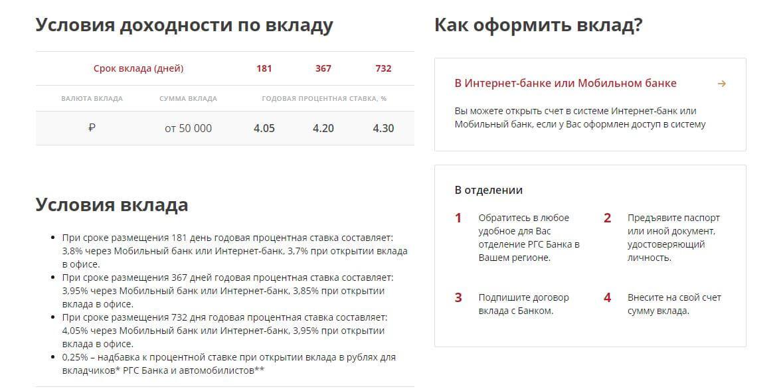 """Условия и проценты вклада """"Движение вперёд"""""""