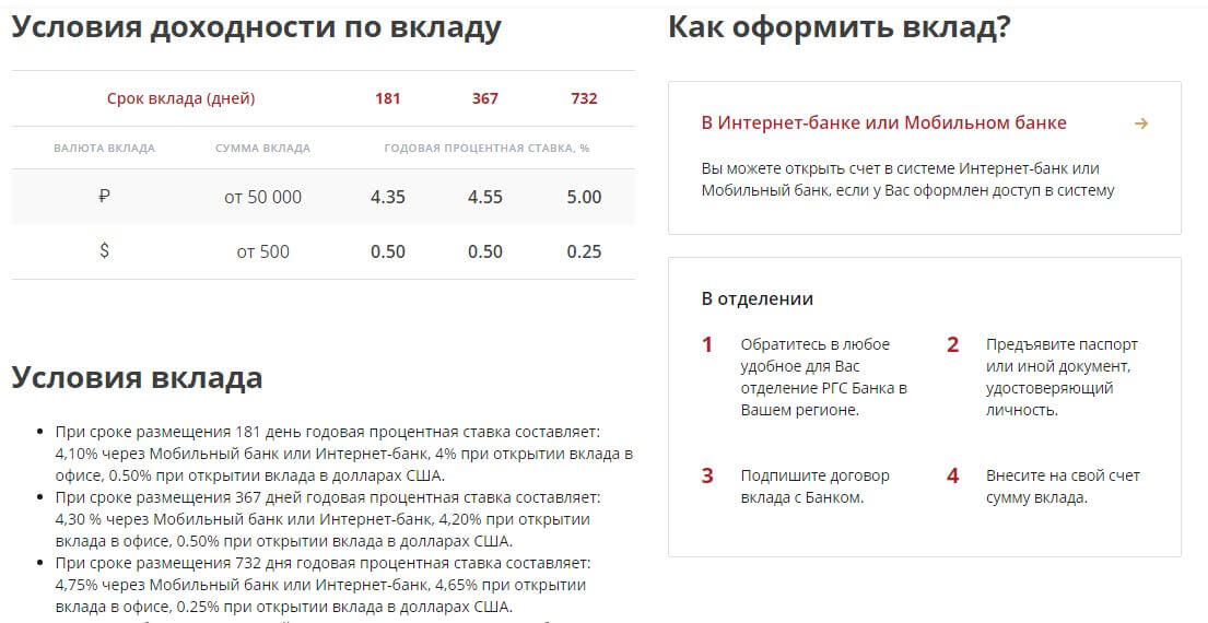 Проценты и условия по вкладу Главная дорога