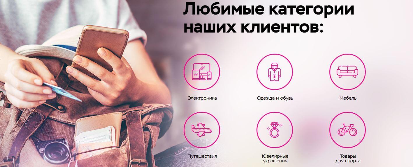 Категории магазинов-партнеров Свобода