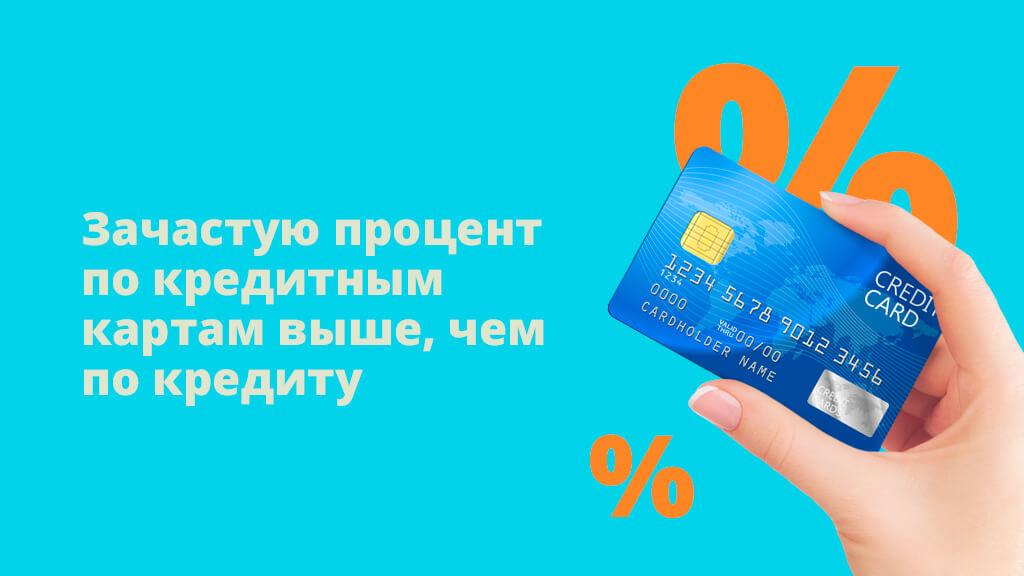 Зачастую процент по кредитным картам выше, чем по кредиту